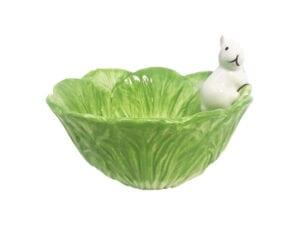 grüne Futterschale für Kaninchen mit weißem Kaninchen