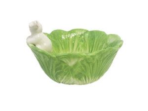 grüne Porzellan Kaninchenschale von hinten