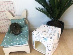 grüne Bettwäsche für Kaninchenbett