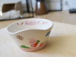 rosa Futternapf mit Kaninchen und Blumen