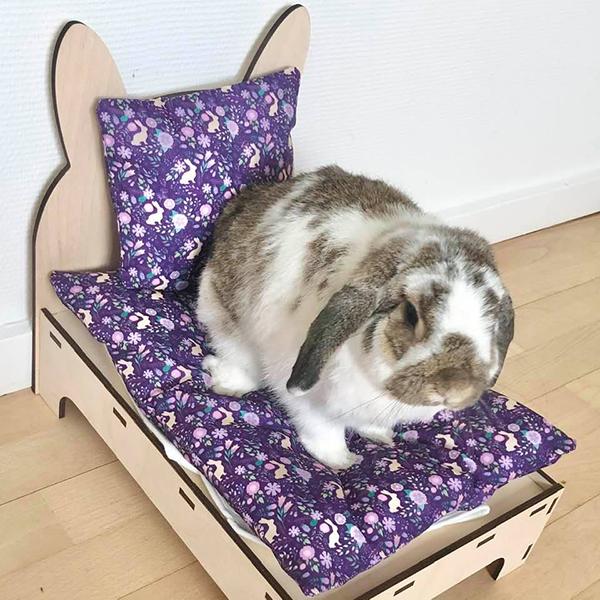 Kaninchen im Bett mit lila Blumen