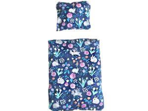 Kaninchen Bettwäsche blau mit Blumen und Kaninchen