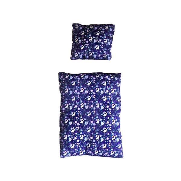 Bettwäsche für Kaninchenbett lila mit Kaninchen