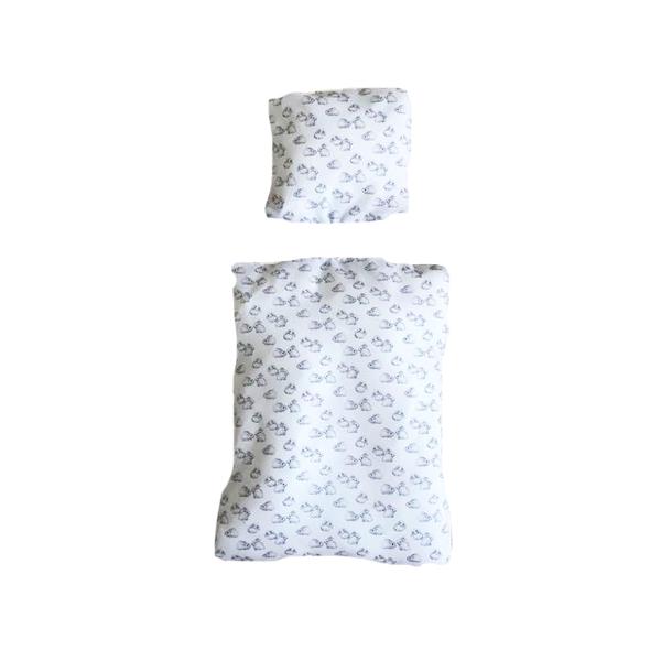 Bettwäsche für Kaninchenwiese weiß mit kleinen Kaninchen
